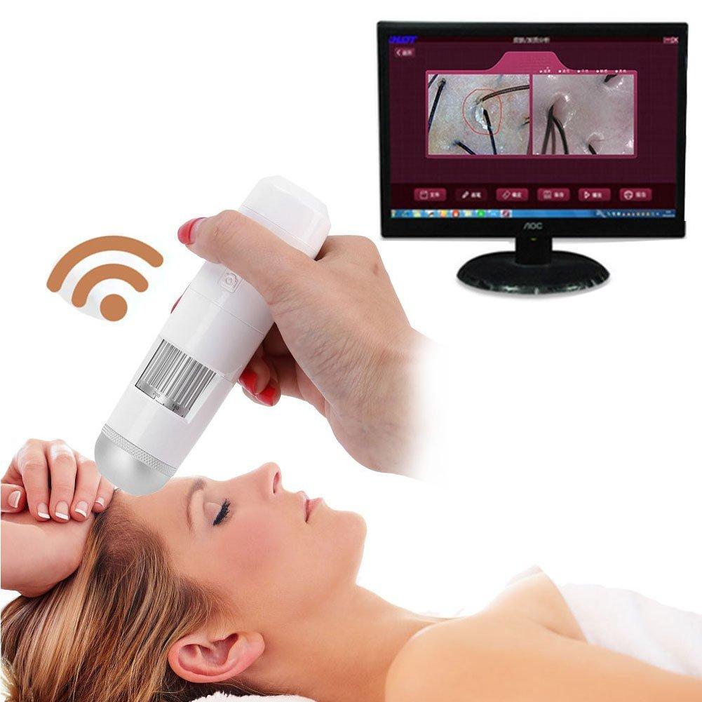 5-200X Wireless Wifi Skin Hair Scalp Detector Digital Microscope Skin Analyser 200MP Camera(White) Brino