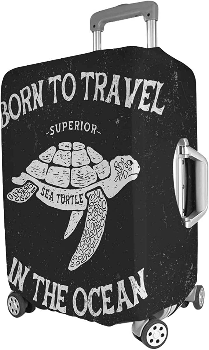 INTERESTPRINT Custom Trolley Case Covers Washable Vintage Turtle Fit 26-28 Inch Luggage