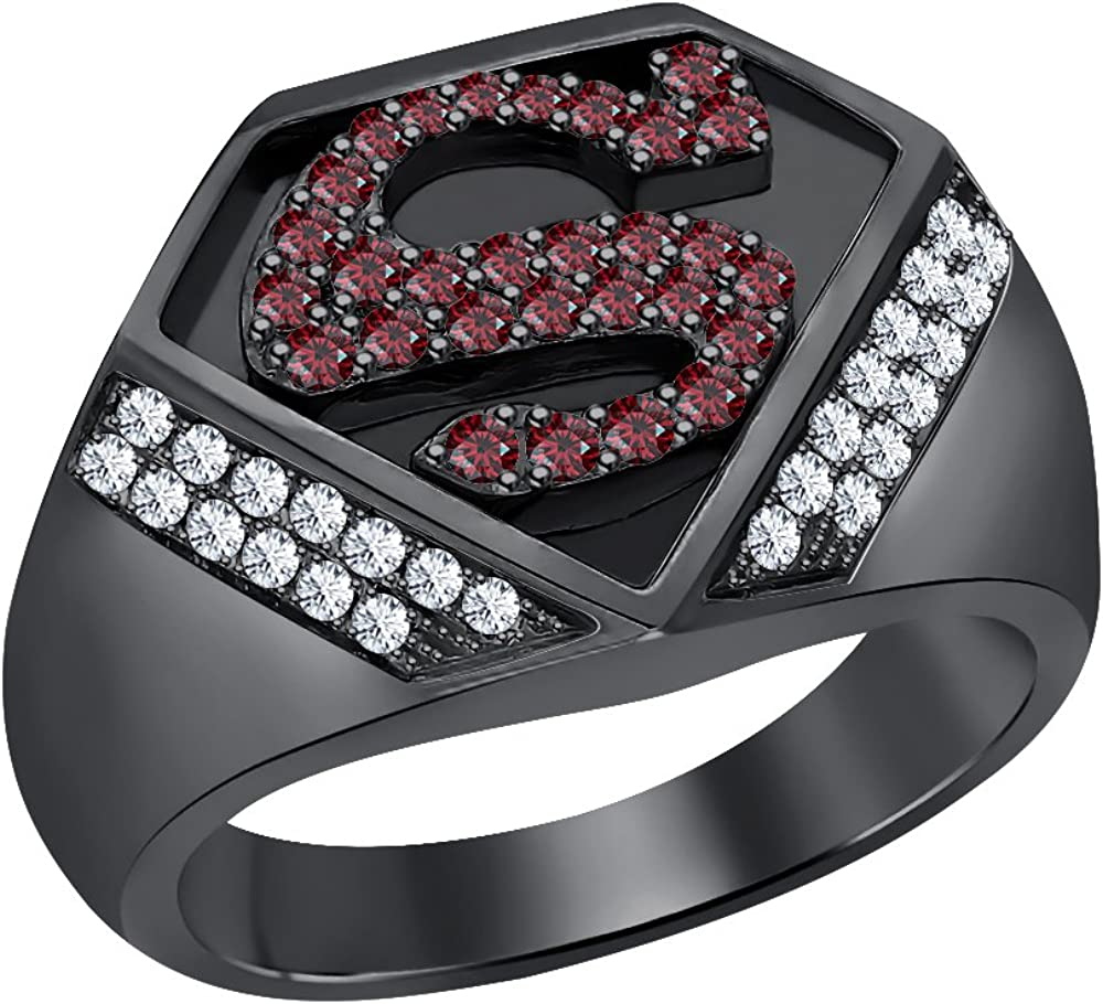 SVC-JEWELS Awesome 1.12 CT Round Cut Garnet /& White CZ Diamond 14K Black Gold Plated Superman Logo Shield Men/'s Ring
