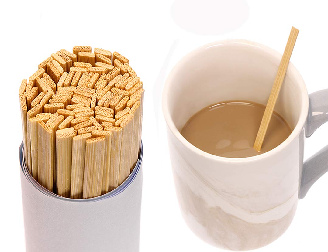 Mini Skater 5.4 Inch Bamboo Coffee Stirrers Eco Friendly Biodegradable Stir Sticks for Tea Hot Cold Beverages (1000)