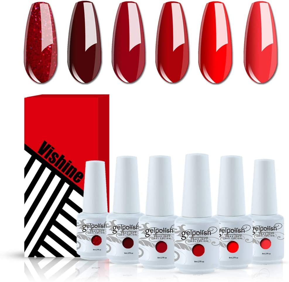 Vishine Glamour Red Gel Nail Polish Kit 8ML 6 Bottles Soak Off Nail Gel Polish Manicure Series UV LED Lamp Required Gift Box Nail Art