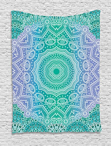 Ambesonne Ethnic Tapestry, Traditional Mystical Oriental Mandala Yantra Sacred Geometry Pattern, Wall Hanging for Bedroom Living Room Dorm, 40 W X 60 L Inches, Purple Green