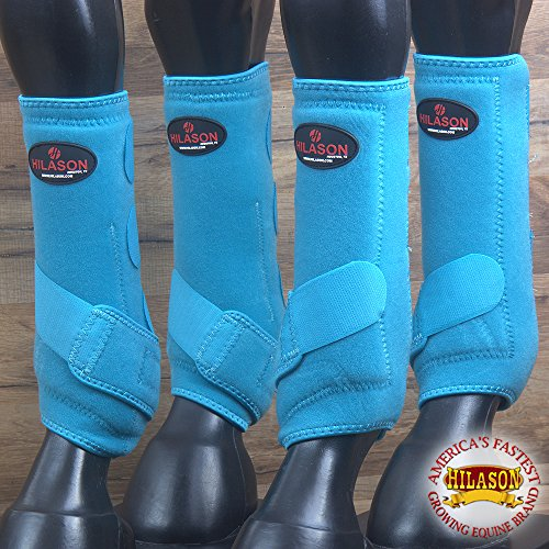 4 PACK LRG HILASON HORSE MEDICINE SPORTS BOOTS FRONT REAR HIND LEG TURQUOISE by HILASON