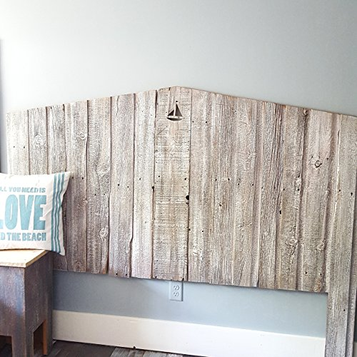 Whitewash Reclaimed wood Headboard with personalized cutout design (Cape Cod Bedroom Furniture)
