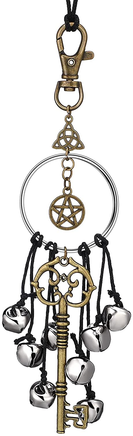 Witch Bells for Door Witchcraft Bells Supplies Wiccan Decor Altar Bell Antique Magic Keys Witchy Wicca Home Protection Decor Kitchen Witch Decor (1 Piece)