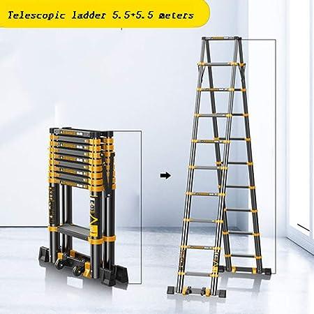 Escalera En Espiga Elevador De Loft Escalera De Ingeniería Escalera Telescópica Escalera Plegable De Aleación De Aluminio Grueso (Color : Ladders, Size : 5.5+5.5m): Amazon.es: Hogar