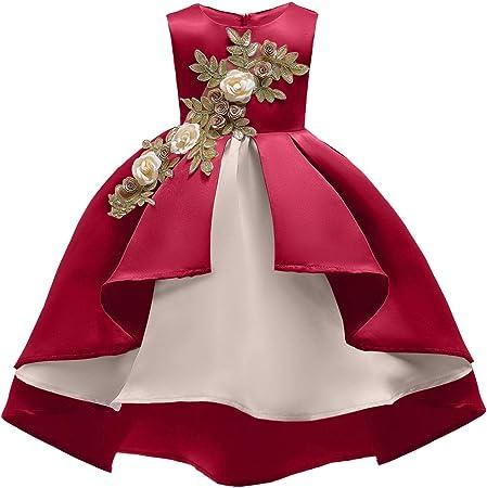 Yuflangel Madchen Geburtstag Hochzeit Kleid Ballkleid Brautjungfer Pageant Princess Flower Dresses Farbe Weinrot Grosse 110 Amazon De Kuche Haushalt