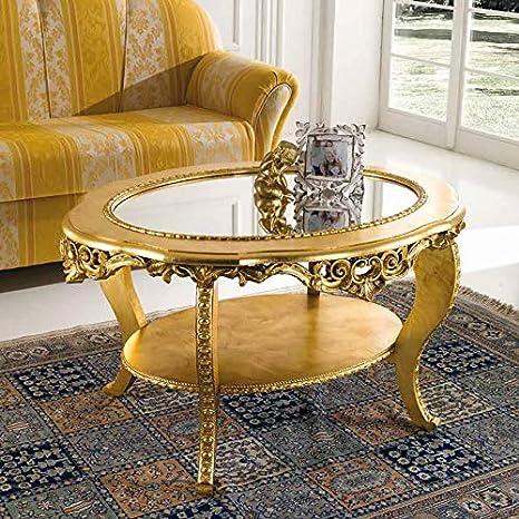 Tavolo Da Salotto Classico.Mocada Tavolino Classico Ovale Da Salotto Intagliato A Foglia Oro Doppio Piano