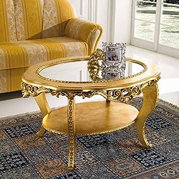 Tavolini Da Salotto Classici In Foglia Oro.Mocada Tavolino Classico Ovale Da Salotto Intagliato A Foglia Oro Doppio Piano