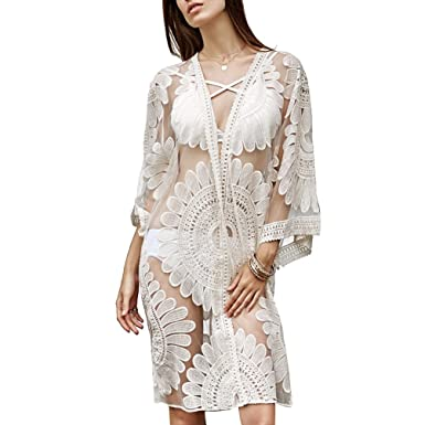4a76aa69afee ZKOOO Femme Dentelle Longue Manches Cardigan Plage Bikini Cover Up Maillot  De Bain Sarong Pareo Floral Chemisier Beachwear Swimsuit Cover-up Abricot   ...