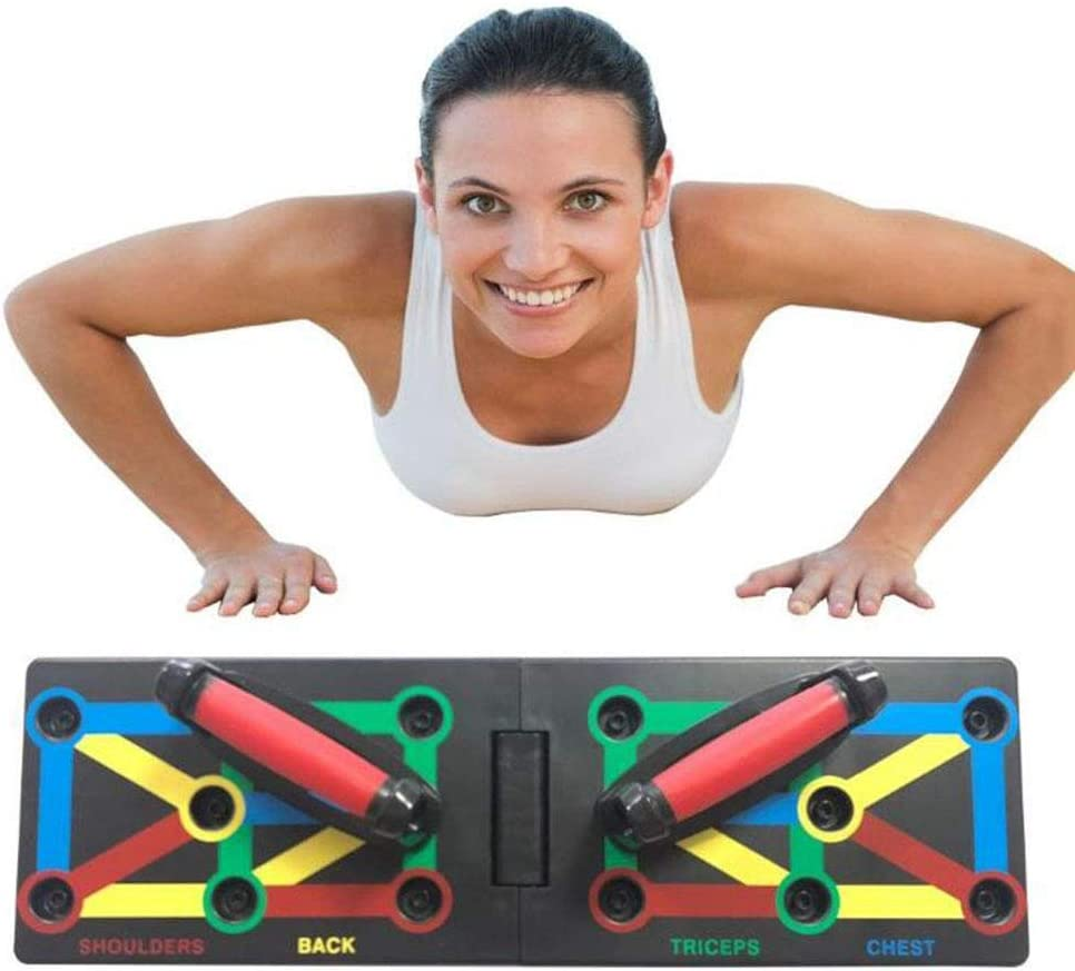 seveni 9 in 1 Push Up Rack Board Fitness Gear Power Press Push up Bracket System Workout Training Gym Exercise Folding Rack Multifunction Portable for Body Building Workout