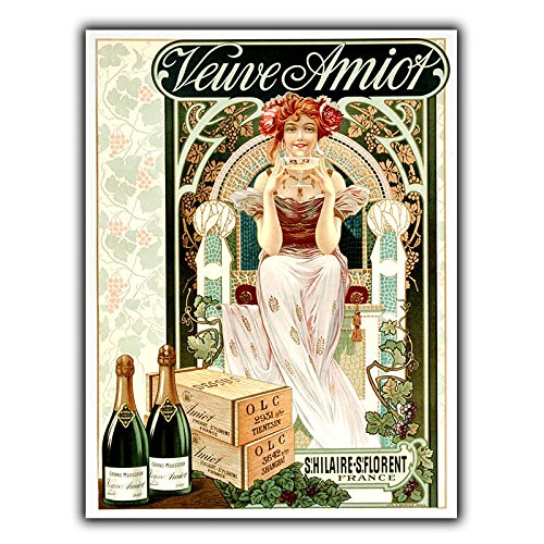 PotteLove Champagne Veuve Amiot French Metal Sign Wall Plaque Vintage Ad Bar -