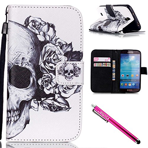 Galaxy S4 Case, Galaxy S4 Wallet Case, Firefish Kickstand Card Slots Cash Holder Dual Layer Impact Resistant Case Cover with Wrist Strap Magnetic Snap Closure for Samsung Galaxy S4 i9500-Skull