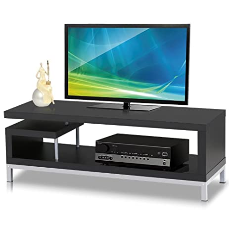 Amazoncom Topeakmart Black Wood TV Stand Console Table Home