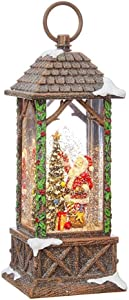 RAZ Imports Santa Decorating Tree Lighted Water Lantern Lighted Christmas Snow Globe with Swirling Glitter