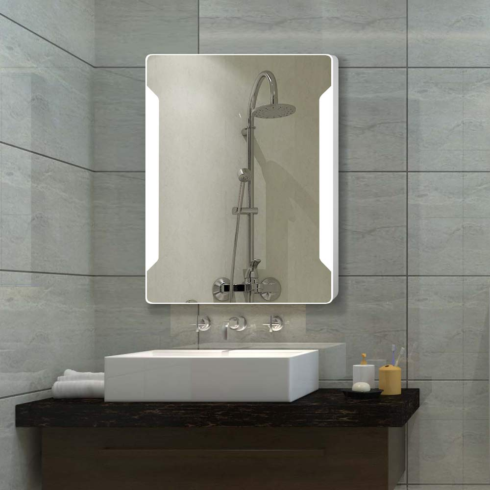 Stamo Vanity Bathroom Silvered Anti-Fog Mirror LED Lighted with Touch Button Vertical Bathroom Vanity Lighted, dimmable Lighting Mirror by Stamo (Image #10)