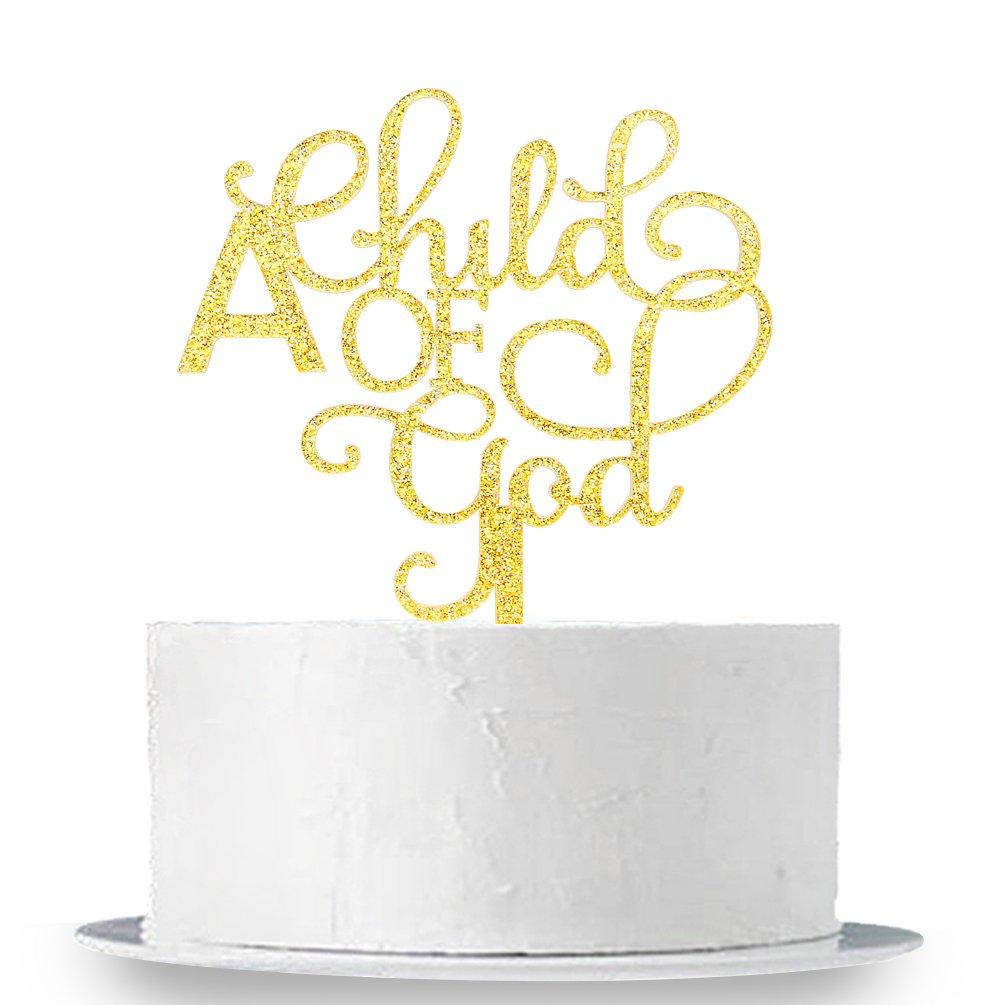 INNORU Gold Glitter A Child of Gold Cake Topper - Communion Party Sign,God Bless Cake Topper, Baptisim Christening - First Baby Shower Decoration Supplies