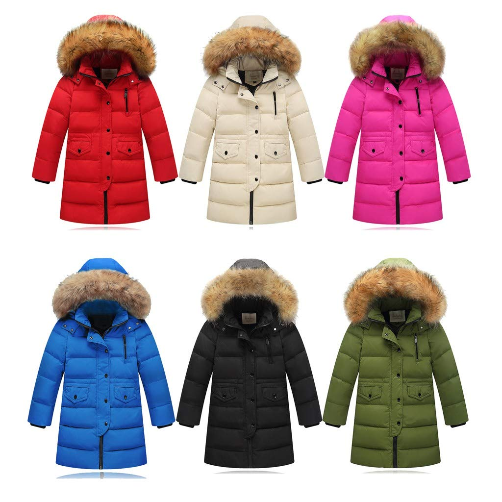 Yezijin Big Girls Boys Winter Parka Down Coat Puffer Jacket Padded Overcoat with Fur Hood for 2-12 Years Old