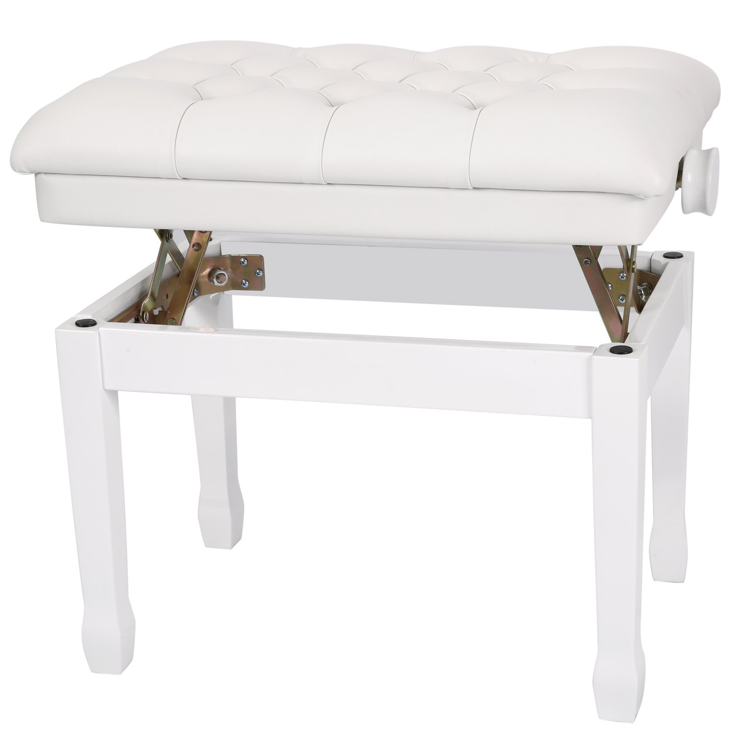Neewer 18-22 inches / 46-56 centimeters Height Adjustable Dual Padded Wooden Artist Piano Bench with Thick and Soft PU Leather Pillow Cushion for Deluxe Comfort (White) 40089767