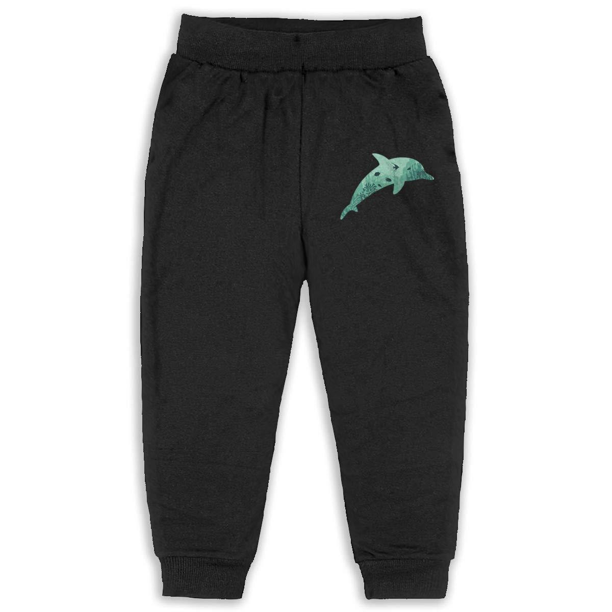 Dolphin Coral Silhouette Children Cartoon Cotton Sweatpants Sport Jogger Elastic Pants