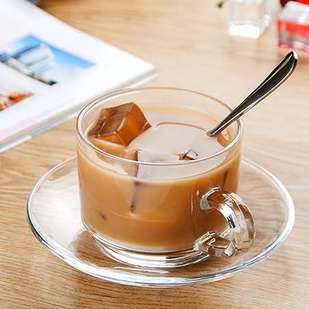 Vasos para té y café Taza de café taza de café de cristal transparente taza casera a prueba de calor taza de consumición simple taza de la oficina cuchara ...