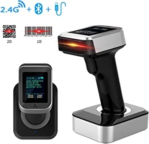 Bluetooth Wireless Barcode Scanner, Symcode 1D 2D USB Handheld Bar Code Reader Laser Cordless Automatic Bar Code Scanner and Collector Portable Data Terminal Inventory Device with TFT Color LCD Screen