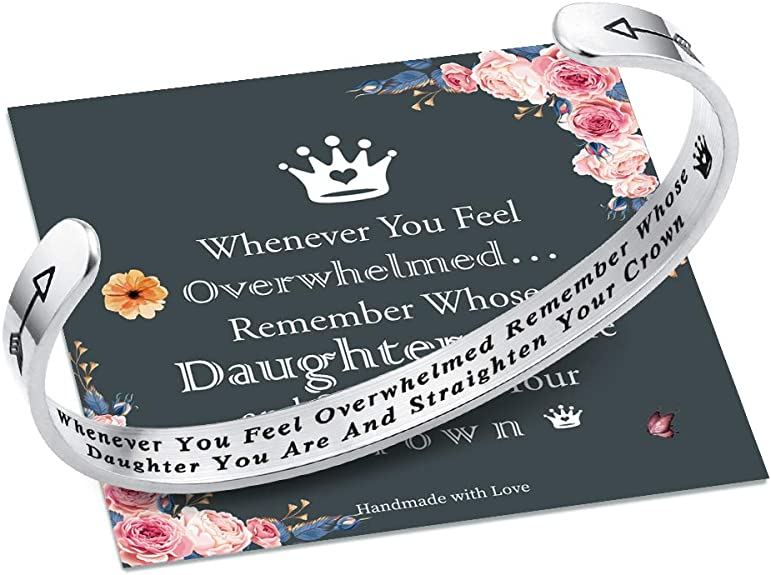 IEFSHINY Whenever You Feel Overwhelmed Remember Whose Daughter Straighten Your Crown Bracelet, Daughter Bracelet from Mom Straighten Your Crown Inspirational Quote Engraved Daughter Crown Bracelet