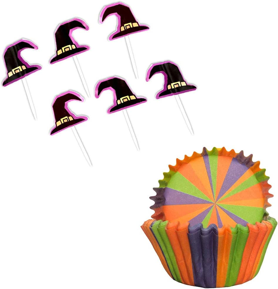 Halloween Holiday Striped Baking Cups with Witch Hat Food Picks - Cupcake Liners for Party Supply Decoration - 48 Piece Set