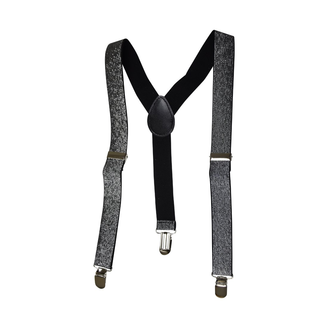 Suspenders for Boys Adjustable Elastic Black with Silver Glitter