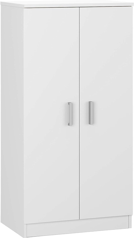 Habitdesign 007813O - Zapatero Armario Basic, Mueble Auxiliar acabado en Blanco Brillo, Medidas: 108 cm (alto) x 55 cm (largo) x 36 cm (fondo)