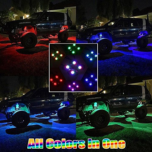 wiipro rgb led rock light cell phone app bluetooth control with 8 pods neon led lights kit for. Black Bedroom Furniture Sets. Home Design Ideas