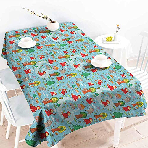 Custom Tablecloth,Fantasy Red Riding Hood Tale Themed Illustration