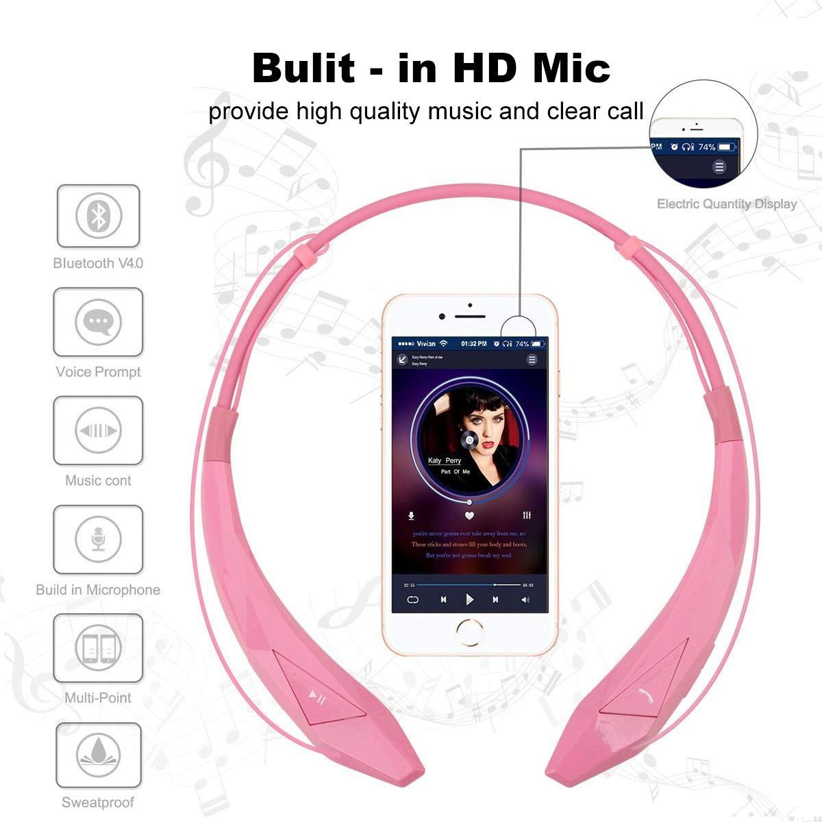 Amazon.com: pianogic Neckband pg-902 auricular bluetooth v4 ...