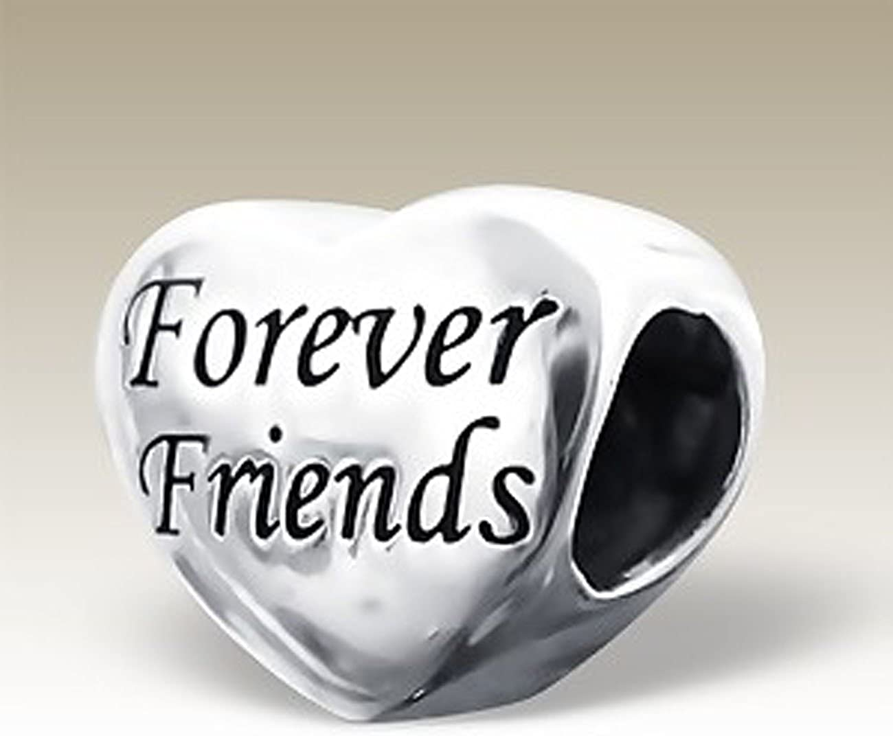 for Charm Bracelets E15962 Silver Heart Bead Sterling Silver Forever Friends