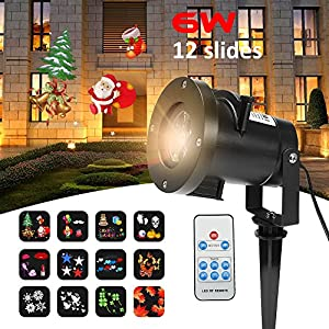 Christmas Lights Projector,Merkmak Snowflake Projector Waterproof Outdoor Indoor Led Stage Disco Light 12 Types Slide Christmas Lase Lamp Remote Control for Home Garden Holiday Decoration