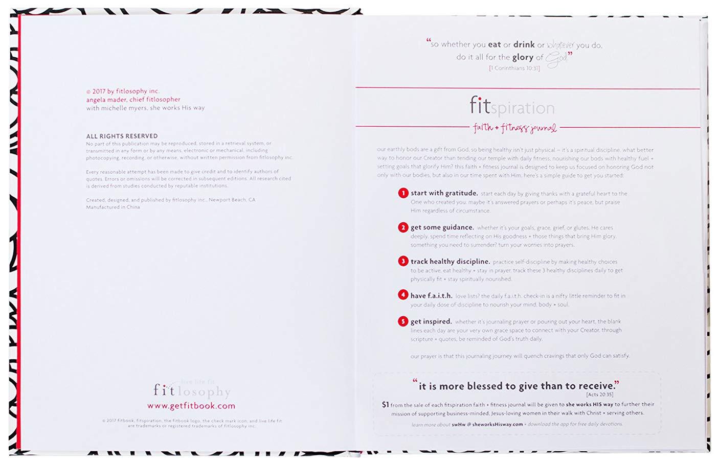 Pri/ère Fitlosophy Fitspiration Faith Journal et Gratitude Journal 16-Week Sauvegarde//Fitness