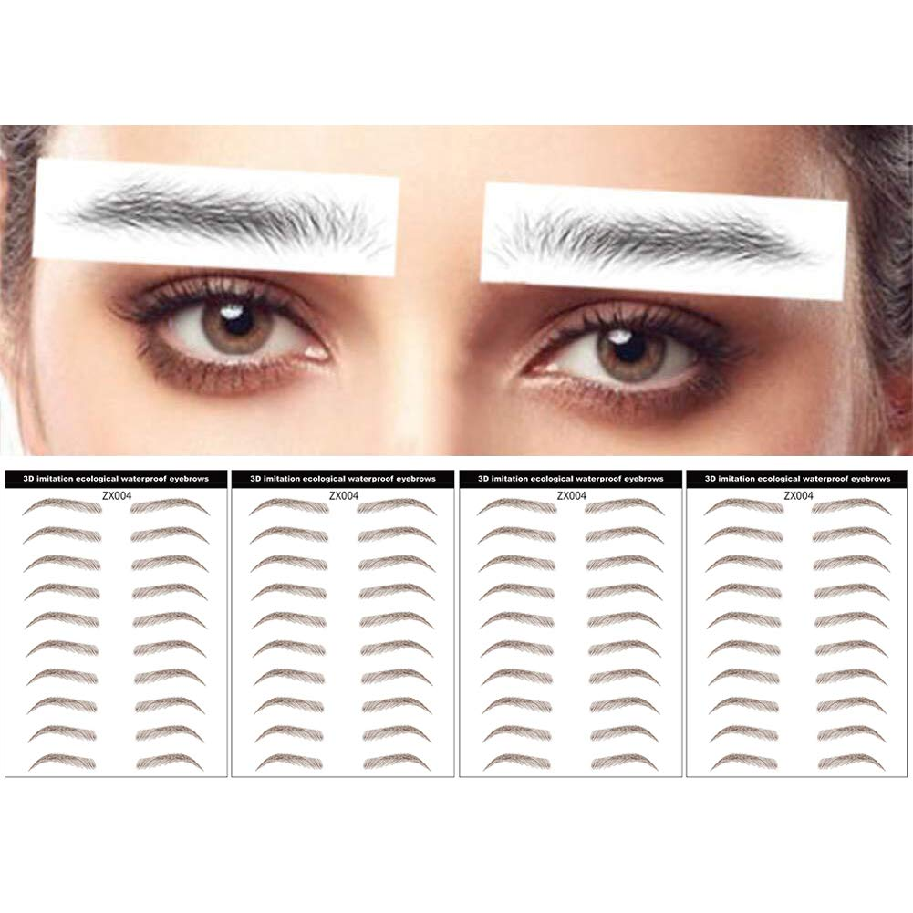 DAGEDA Brown 40 Pairs 4 PC 4D Eyebrow Transfers Stickers, Long Lasting Natural Waterproof Bionic Eyebrow Water Transfer Tattoo Eyebrow Sticker For Woman Man Makeup Tool(#ZX-004)