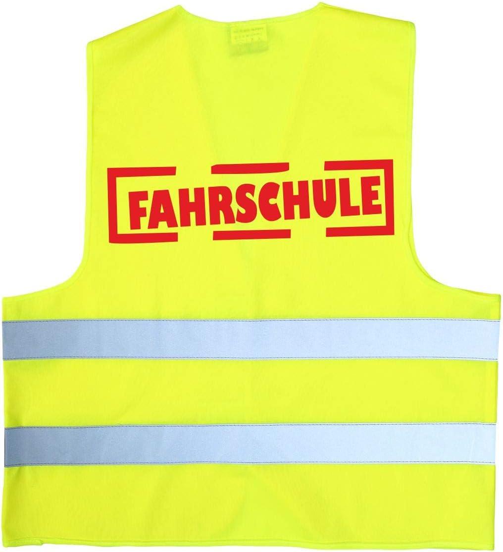 FAHRSCHULE Warnweste gelb Sicherheitsweste Fahrsch/üler Neongelb F/ührerschein