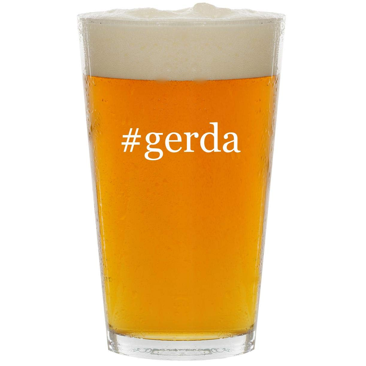 #gerda - Glass Hashtag 16oz Beer Pint by Molandra Products