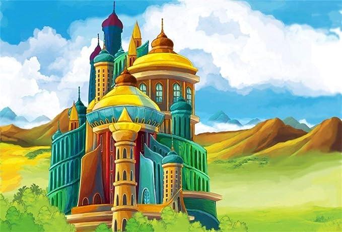 BuEnn 10x8ft Dibujo Arte Castillo Medieval Telón de Fondo ...