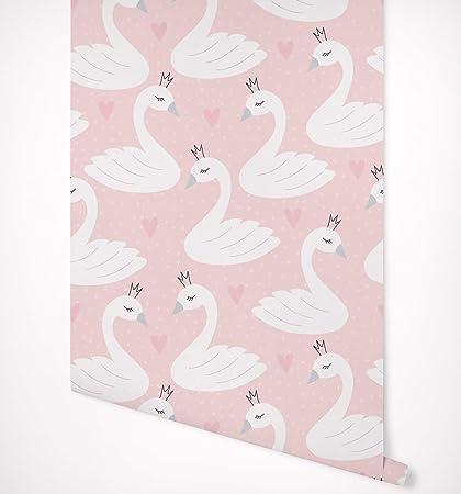 Kraska Peel Stick Wallpaper Swan Princess Pink Removable Wallpaper Self Adhesive Premium Quality Multi Purpose Wall Decor Home Nursery Kitchen