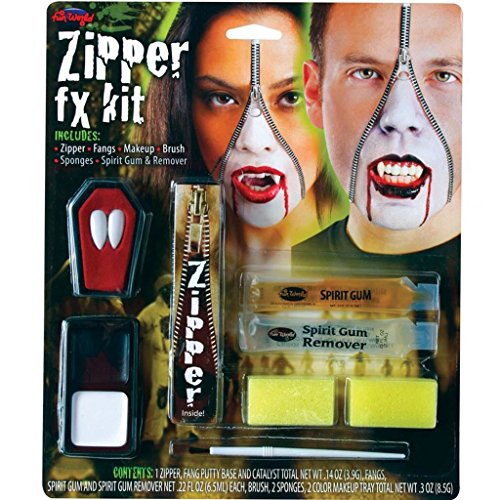 (Wicked Costumes Men's Wicked s Vampire Deluxe Zipper Make Up Kit Fancy Palmer Agencie Horror One Size Multicolor)