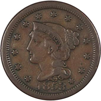 1853 Braided Hair Large Cent F Fine Copper Penny 1c US Type Coin Collectible