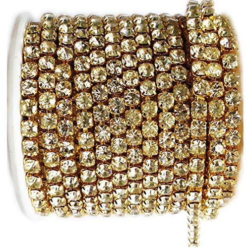 10 Yard Crystal Rhinestone Close Chain Clear Trim Sewing Craft Gold Color (4.3mm)