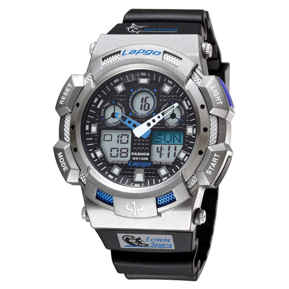 WERTY&K メンズスポーツデジタルウォッチ - アウトドア防水ダイビングウォッチ アラーム/ストップウォッチ - ミリタリー多機能電子腕時計 バックライトカレンダー付き ブラック B07JBB7VRS D