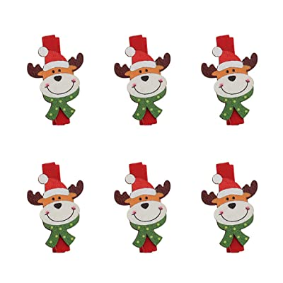 Christmas Tree Hanging Photo Display Wooden Clips, Cute Cartoon Reindeer Elk DIY Photo Pegs for Christmas Decorations: Toys & Games