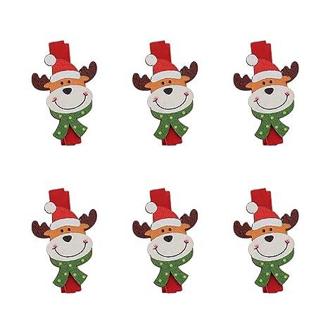 Amazon Com Dameng Christmas Decorations Cartoon Wooden Clip