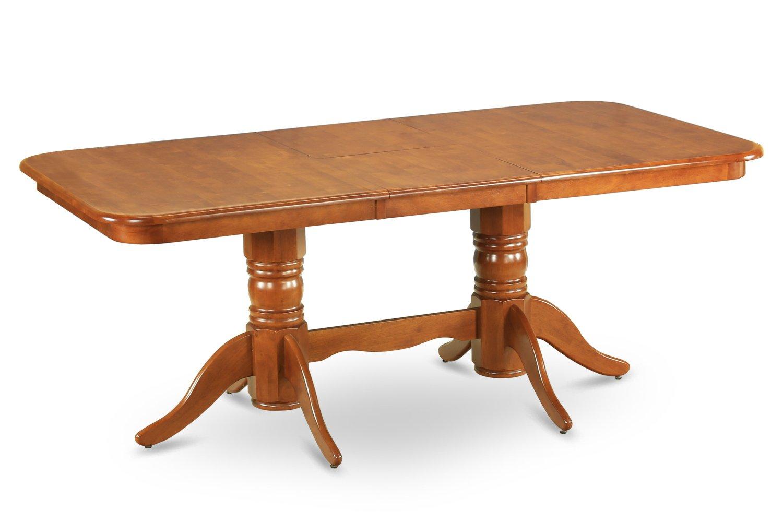 NAT-SBR-TP rectangular round corner Dining Table with 18 in self storage leaf in saddle brown