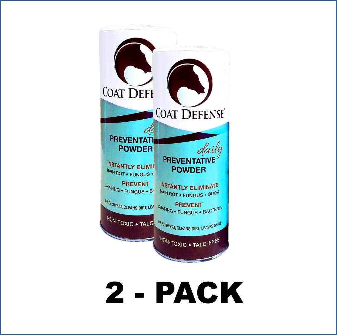 Coat Defense Daily Preventative Powder for Horses. Cleans and Deodorizes Without Water. Shake On, Work in, Brush Out. Eliminates Odor, Bacteria, Fungi, Rain Rot. Safe. Talc-Free. Made in USA (2 Pack) by Coat Defense (Image #1)