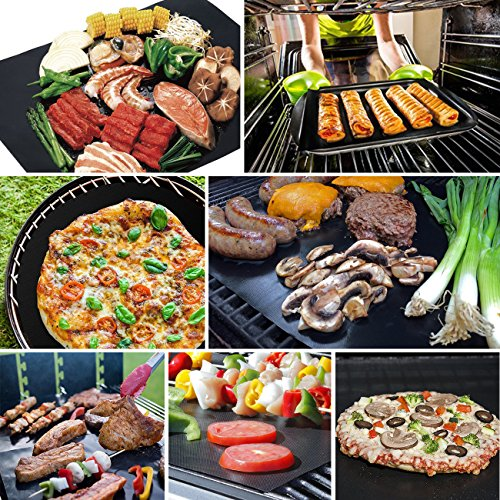SHINE HAI BBQ Grill Mat Set of 5, Non-Stick BBQ Grill & Baking Mats, PFOA Free, Reusable and Easy to Clean, BBQ Accessories for Gas, Charcoal, Electric Grill and More- 15.75 x 13 Inch